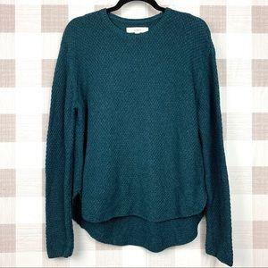 LOFT Hi-Lo Hem Crew Neck Knit Sweater Teal Sz Med